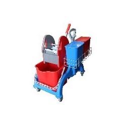 Chariot Faubert 2x22L + Presse Vertical + panier porte-produit + 2 seau de 4 lts
