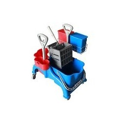 Chariot Faubert 2x22L + Presse lateral + panier porte-produit + 2 seau de 4 lts + support pulverizateur