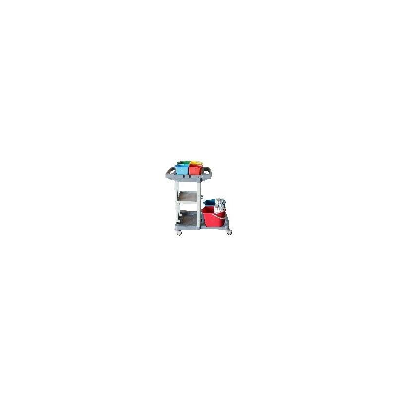 Chariot manutention avec 2 étagères,support sac avec couvercle et 2 poignée + 4 seaux 5 lts + notre ref. 2x 1158/B