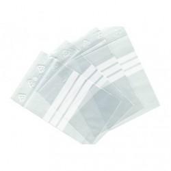 Sachet plastique à fermeture zip à bandes blanches 50x75mm